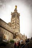 Notre Dame de la加尔德角大教堂,马赛 图库摄影