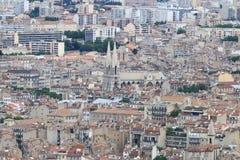 从Notre Dame de la加尔德角的看法在法国人马赛镇 免版税库存图片