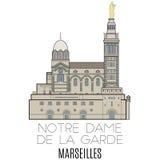 Notre Dame De La加尔德角,马赛 库存照片