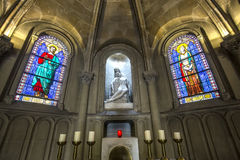 Notre dame de la compassion church, Paris, France. PARIS, FRANCE, APRIL 19, 2017 : interiors, stained glasses and details of notre dame de la compassion church royalty free stock photos