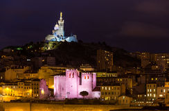 Notre-Dame de la Garde and Abbey of Saint Victor Royalty Free Stock Photography