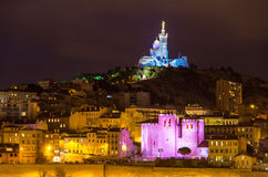 Notre-Dame de la Garde and Abbey of Saint Victor in Marseille - Royalty Free Stock Images