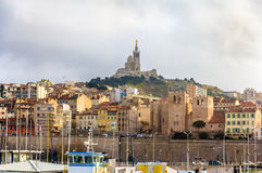 Notre-Dame de la Garde and Abbey of Saint Victor in Marseille - Royalty Free Stock Image