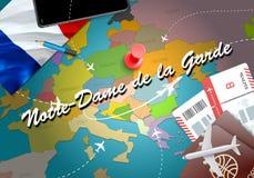 Notre-Dame de la Garde city travel and tourism destination concept. France flag and Notre-Dame de la Garde city on map. France tr. Avel concept map background stock illustration