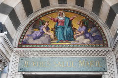 Notre Dame de la Garde entrance, Marseille, France. Marseille's iconic figure, Notre-Dame de la Garde or La Bonne Mère, watches over sailors, fishermen and Stock Images