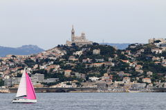 Notre Dame de la Garde upon hilltop in Marseille, France Stock Photography
