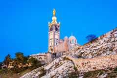 Notre Dame de la Garde, Marseille, France. Catholic Basilica of Our Lady of the Guard or Notre Dame De La Garde church on the hill in Marseille, France Royalty Free Stock Photos