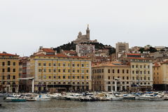 Notre Dame de la Garde and Marseille port in France Stock Photography