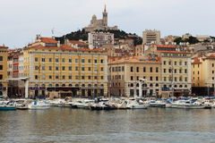 Notre Dame de la Garde and Marseille port, France Royalty Free Stock Image
