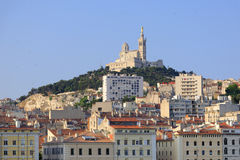 Notre Dame de la Garde. Scenic view of the Notre Dame de la Garde viewed from the Vieux Port in Marseille, France Royalty Free Stock Image