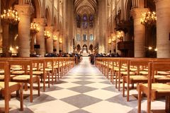 Inside Notre Dame de Paris stock photography