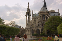 Notre Dame de Paris. Notre Dame of Paris in France from the back in the courtyard Royalty Free Stock Photography