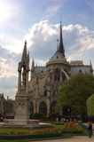 Notre Dame de Paris. Notre Dame of Paris Cathedral from the Back of courtyard Royalty Free Stock Images