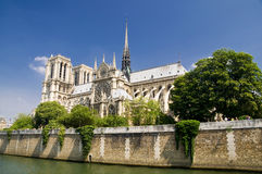 Notre Dame de Paris. Notre Dame Church in Paris, along Seine River Royalty Free Stock Image