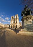 Notre-Dame de Paris. Wide-angle view of Notre-Dame cathedral - Paris, France royalty free stock photography