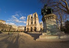 Notre-Dame de Paris. Wide-angle view of Notre-Dame cathedral - Paris, France stock photo
