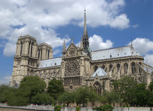 Notre Dame de Paris. A full view of Notre Dame, in Paris Stock Images