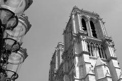 Notre Dame de Paris. Vintage view of cathedral Notre Dame de Paris, France stock images