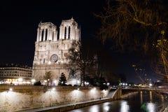 Notre Dame de Paris alla notte Fotografia Stock