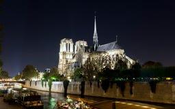 Notre Dame de Paris alla notte fotografia stock libera da diritti