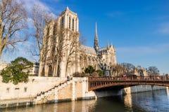 Notre Dame de Paris architecture in France. Notre Dame de Paris architecture on the Seine river in France Royalty Free Stock Image
