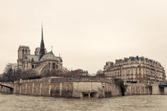 Notre Dame de Paris back View. From Seine Royalty Free Stock Photo