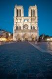 Notre Dame de Paris bij nacht. Royalty-vrije Stock Foto