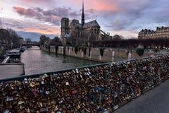 Notre Dame de Paris bij schemer royalty-vrije stock fotografie