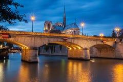 Notre Dame de Paris bij zonsondergang royalty-vrije stock foto's