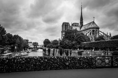 Notre Dame de Paris in black and white Royalty Free Stock Photos