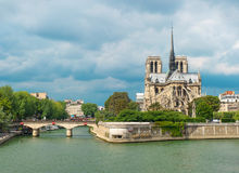 Notre Dame de Paris carhedral exterior riverside Royalty Free Stock Images