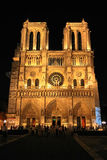 Notre Dame de Paris Cathedral. Facade of the Cathedral Notre Dame of Paris at night Stock Photos
