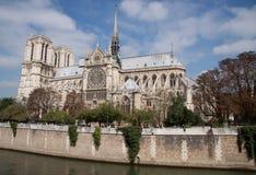 Notre Dame de Paris cathedral. On the la seine riverside Royalty Free Stock Photos