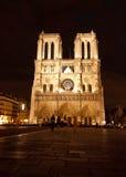 Notre Dame de Paris Cathedral. Facade of the Cathedral Notre Dame of Paris at night newly renovated Royalty Free Stock Photos