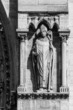 Notre Dame de Paris Cathedral: Architectural details. Paris, Fra. Architectural details of the facade of catholic cathedral Notre-Dame de Paris in black and Stock Images