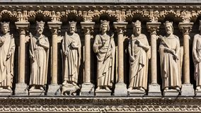 Notre Dame de Paris Cathedral: Arkitektoniska detaljer Paris Fra Royaltyfri Foto