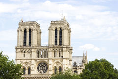 Notre Dame de Paris cathedral on beautiful background Stock Photo