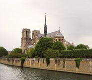 Notre Dame de Paris Cathedral, beautiful Cathedral in Paris. View from the River Seine, Paris, France royalty free stock photo