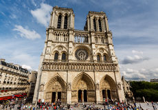 Notre Dame de Paris Cathedral on Cite Island Royalty Free Stock Photos