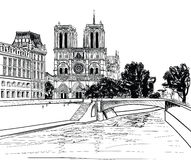 Notre Dame de Paris Cathedral. Cityscape old-fashioned background with Seine river, bridge. Paris, Ile de la Cite. Stock Image