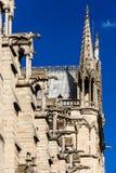 Notre Dame de Paris Cathedral: Detalhes arquitetónicos Paris, Fra Imagem de Stock Royalty Free
