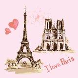 Notre Dame de Paris Cathedral, Eiffel Tower, France. Watercolor Stock Image