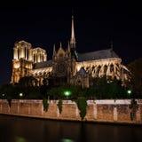 Notre Dame de Paris Cathedral en la noche, Francia Fotografía de archivo libre de regalías