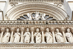 Notre Dame de Paris cathedral facade Royalty Free Stock Photos