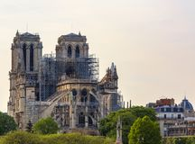 Notre Dame de Paris Cathedral After The Fire on 15 April 2019. Detail image of the remains of Notre Dame Cathedral in Paris after the fire destroyed the whole stock images