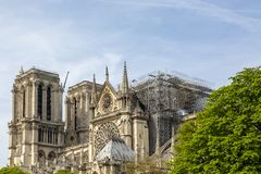Notre Dame de Paris Cathedral After The Fire on 15 April 2019. Detail image of the scaffoldings and the remains of Notre Dame Cathedral in Paris after the fire stock photo