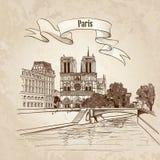 Notre Dame de Paris Cathedral. Fond démodé de paysage urbain avec la Seine, pont. Paris, Ile de la Cite. Image stock