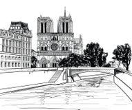 Notre Dame de Paris Cathedral. Fondo pasado de moda del paisaje urbano con río Sena, puente. París, Ile de la Cite. stock de ilustración