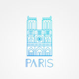 Notre Dame de Paris Cathedral, France. Hand drawing sketch vector illustration of french travel landmark. Stock Images