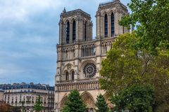 Notre Dame de Paris cathedral , Paris, France stock photo